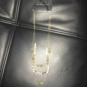 Green and ivory bead necklace